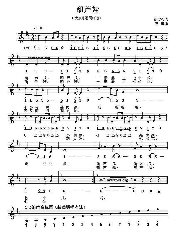 儿童歌曲-钢琴简谱大全!